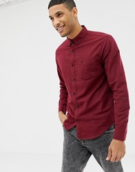 Hollister Icon Logo Button Down Oxford Shirt Slim Fit In Burgundy Red