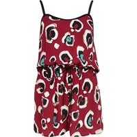 River Island Womens Dark Red Animal Print Casual Romper