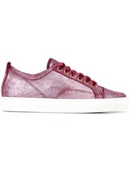 Lanvin Classic Lace Up Sneakers Pink And Purple