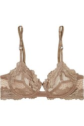 Lonely Bonnie Metallic Lace Trimmed Embroidered Stretch Tulle Underwired Bra Taupe