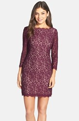 Women's Adrianna Papell Long Sleeve Lace Sheath Dress Mulberry Nude