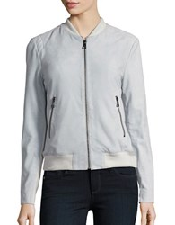 Karl Lagerfeld Leather Bomber Jacket Sky