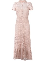 Red Valentino Long Macrame Dress Pink Purple