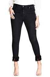 City Chic Plus Size Women's Jean Harley Overfrayed Hem Skinny Jeans Black