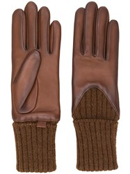 Agnelle Leather Knitted Gloves Brown