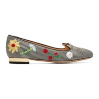 Charlotte Olympia Black And White Gingham Kitty Flats