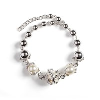 Kasun Orb And 3 Ivory Pearl Bracelet Silver