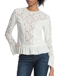 Plenty By Tracy Reese Floral Lace Long Sleeve Mixed Media Blouse Ivory