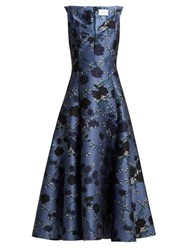 Erdem Verna Rose Jacquard Gown Blue Multi