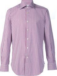 Kiton Checked Button Down Shirt Red