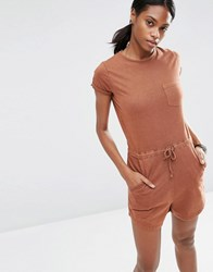 Asos Jersey Washed Casual Playsuit Chocolate Brown