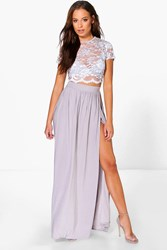 Boohoo Lace Crop Bralet And Maxi Skirt Co Ord Grey
