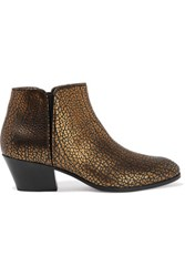 Giuseppe Zanotti Metallic Printed Textured Leather Ankle Boots Gold