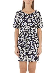 Marc Cain Daisy Print Jersey Dress Midnight Blue