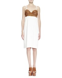 Dries Van Noten Dal Sequined Bustier Combo Dress White Gold