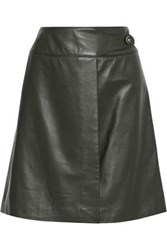 Carolina Herrera Leather Mini Wrap Skirt Forest Green