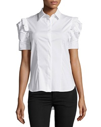 Philosophy Di Alberta Ferretti Ruffle Sleeve High Low Blouse White