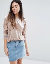 Warehouse Crushed Velvet Sweater Brown