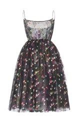 Luisa Beccaria Floral Embroidered Tulle Ballerina Dress Black