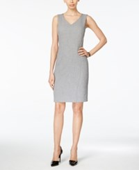 Kasper V Neck Sheath Dress Grey Black