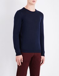 Boss Crewneck Knitted Wool Jumper Navy