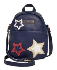 Tommy Hilfiger Aurora Embellished Mini Backpack Crossbody Tommy Navy