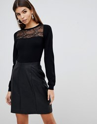 Lipsy 2 In 1 Lace Detail Dress With Faux Leather Skirt In Black Black