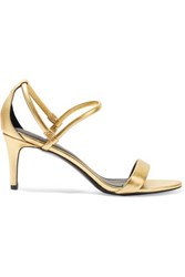 Sandro Metallic Textured Leather Sandals Gold