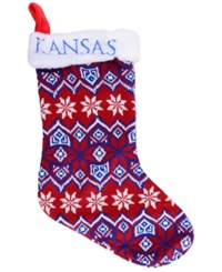Forever Collectibles Kansas Jayhawks Ugly Sweater Knit Team Stocking Blue