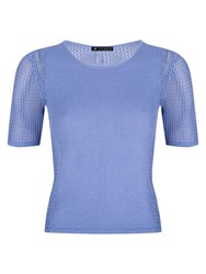 St Studio Open Knit Short Sleeve Jumper Faded Blue