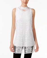 Alfani Lace Mock Neck Top Only At Macy's Bright White