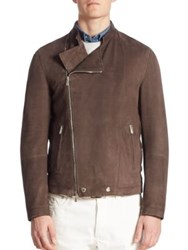Brunello Cucinelli Suede Asymmetrical Zip Moto Jacket Brown