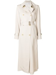 Mauro Grifoni Double Breasted Trench Coat Nude And Neutrals