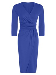 Hotsquash V Neck Mock Wrap Thermal Dress Blue