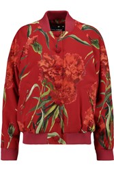 Dolce And Gabbana Floral Print Jacquard Bomber Jacket Red