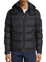 Moncler Wool Quilted Hooded Jacket Charcoal