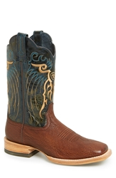 Ariat 'Shallow Water' Sharkskin Embossed Leather Cowboy Boot Men Pecan Shark Silver Stream