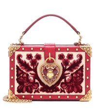 Dolce And Gabbana My Heart Velvet Leather Clutch Red
