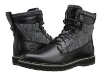 Timberland Britton Hill 6 Warm Lined Leather And Fabric Boot Black Box Leather Harris Tweed Wool Fabric Men's Boots