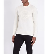 Burberry Embroidered Crest Wool Jumper Natural White