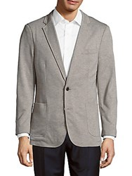 Saks Fifth Avenue Black Textured Woven Jacket Taupe