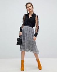 B.Young Check Pleated Skirt Black Combo Multi