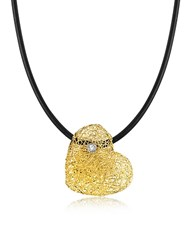 Orlando Orlandini Woven Light Yellow Gold Heart Pendant Necklace W Diamond