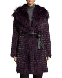 Gorski Belted Fox Fur Long Parka Coat Violet
