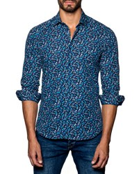 Jared Lang Butterfly Print Sport Shirt Dark Blue