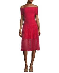 Herve Leger Off The Shoulder Bandage Evening Gown With Lace Red