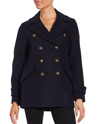 French Connection Double Breasted Wool Blend Peacoat Utility Blue