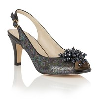 Lotus Clematis Peep Toe Sling Back Courts Black