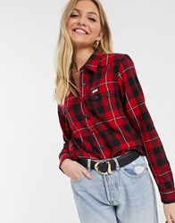 Lee Regular Fit Western Check Shirt Red