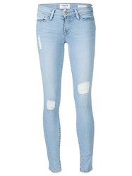 Frame Denim Ribbed Skinny Jeans Blue